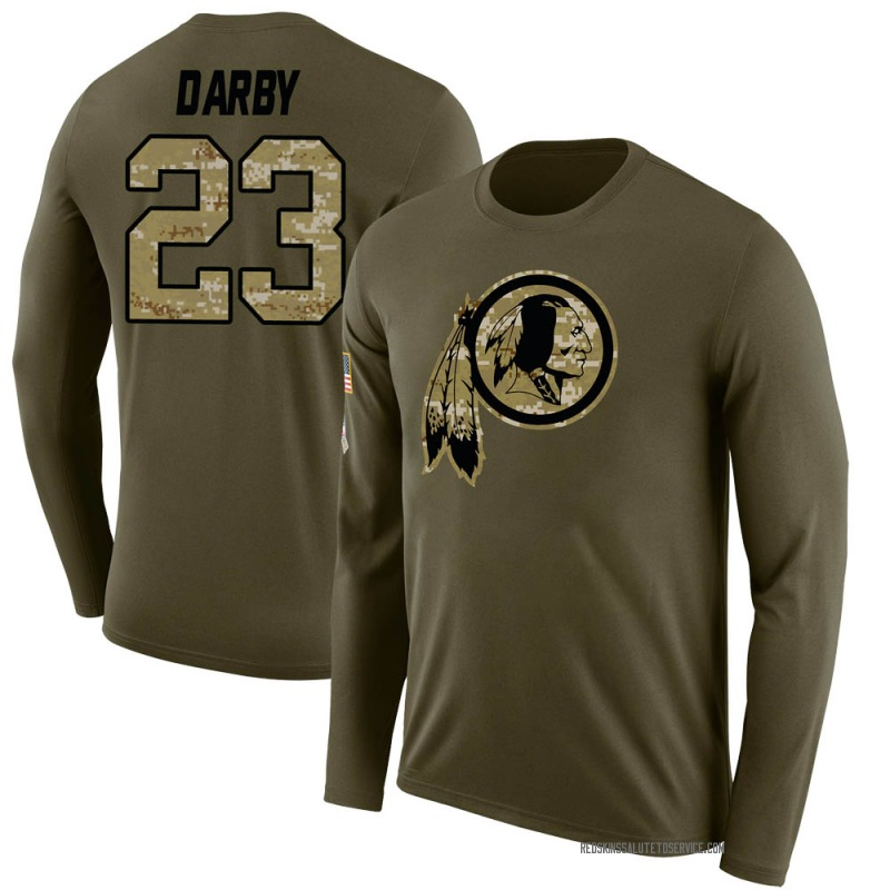 Men's Ronald Darby Washington Redskins Legend Olive Salute to Service Sideline Long Sleeve T-Shirt